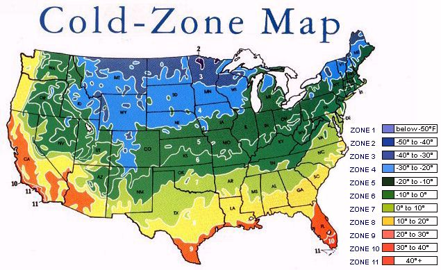 Cold Zone Chart - Us gardening zone map